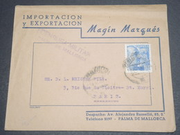 ESPAGNE - Enveloppe Commerciale Pour La France Avec Cachet De Censure De Mallorca - L 12412 - Marcas De Censura Nacional
