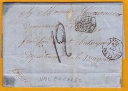 1859 - LAC Filliale  De Valparaiso, Chili Vers Ruillé, Mayenne, France - Voie Maritime Anglaise (taxe) Entrée Par Brest - Chili