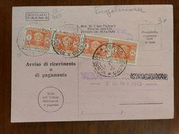 Storia Postale, Avviso Di Ricevimento Luogotenenza 2/5/46 Affrancato Con 4 Segnatasse Da 1 Lira - Non Classificati