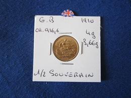 DEMI SOUVERAIN OR 916.6%   1910 - 1902-1971 : Post-Victorian Coins