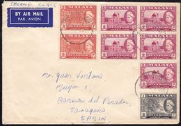 1962. KUALA SELANGOR TO BAÑERAS (TARRAGONA, SPAIN). TRICOLOR AIRMAIL FRANKING. VERY FINE PIECE. - Malasia (1964-...)