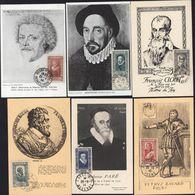 6 Cartes Maximum Célébrités XVI Siècle 6 Valeurs Oblitérations Concordantes Bayard Paré Henri IV Clouet Montaigne Sully - Cartes-Maximum