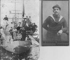 """TOULON (Var) - CONTRE TORPILLEUR """" FANFARE """" - H Fabre, MARIN Du NAVIRE - En 1909 - Lot De 2 Photos (dont 1 CDV) - Scans - Guerre, Militaire"""