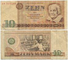 DDR 1971, 10 Mark, Staatsbank Der DDR, C. Zetkin, KN 7stellig, Geldschein, Banknote - [ 6] 1949-1990: DDR - Duitse Dem. Rep.