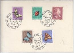 CARTE JOURNEE DU TIMBRE WATTWIL 1952 AVEC AU DOS J143-147 - - Pro Juventute