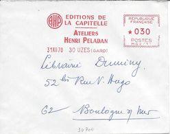 UZES GARD 1970 EMA Machine MG Edition Livre Littérature écrivain La Capitelle HENRI PELADAN Superbe - Marcophilie (Lettres)