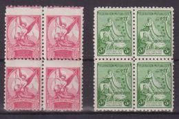 FRANCE : TIMBRES DE BIENFAISANCE . DES PTT CONTRE LA TUBERCULOSE . N° 6 ET 7 . ** . EN BLOC DE 4 . - Marcophily (detached Stamps)
