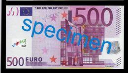 "Test Note ""JEGRO, Logo 7"" Billet Scolaire, Paper, 500 EURO, Training, Ca. 130 X 70 Mm, RRR, UNC - EURO"