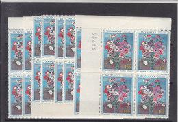 MONTE-CARLO - FLORA 1968 - NUM MICHEL 890 EN 12 BLOC DE 4** - DIVERS DECOUPE AVEC BORD DE FEUILLE - COTE 33 EURO - Monaco