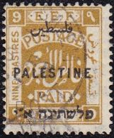 """1922. 9 PENCE OLIVE WITH TRILINGUAL OVERPRINT """"PALESTINE"""" AND WATERMARK """"CA"""". USED. VERY FINE CONDITION. CERT. D. RANDOM - Palestina"""