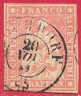 Suisse N°28 15r Rose (fil De Soie Vert & Papier épais) 1854-62 O - Used Stamps