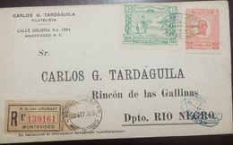 O) 1925 URUGUAY, CENTENARY OF BATTLE OF RINCON  1825 -45 CENTESIMOS- GENERAL FRUCTUOSO RIVERA SCOTT A105, REGISTERED R.O - Uruguay