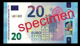 "Test Note ""JEGRO, Logo 6, Typ 1, Horizontal"" Billet Scolaire, Paper, 20 EURO, Training, Ca. 116 X 65 Mm, RRR, UNC - EURO"