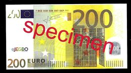 "Test Note ""JEGRO, Logo 6, Typ 1, Horizontal"" Billet Scolaire, Paper, 200 EURO, Training, Ca. 140 X 76 Mm, RRR, UNC - EURO"