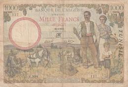 Billet De 1000 Francs Type 1940 Ref Kolsky 429 Du 24 4 1942 - Tunisia