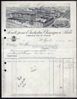 FACTURE OU LETTRE ANCIENNE DE ST-FONS (69)- 1919- INDUSTRIE CHIMIQUE- TRES BELLE ILLUSTRATION GRAND FORMAT- 2 SCANS- - France