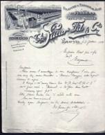 FACTURE OU LETTRE ANCIENNE DE BEAUVAL- 1919- FILATURE- TISSAGE DE JUTE- TRES BELLE ILLUSTRATION- 2 SCANS- - Textilos & Vestidos