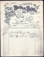 FACTURE OU LETTRE ANCIENNE D'AIX- 1900- HUILERIE AMANDES- NOISETTES- OLIVES- BELLE ILLUSTRATION- 2 SCANS- - Alimentare