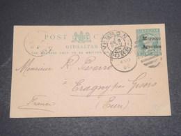 MAROC ANGLAIS - Entier Postal De Gibraltar Surchargé , De Tanger Pour La France En 1898 - L 12447 - Morocco Agencies / Tangier (...-1958)