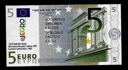 "Test Note ""JEGRO, Logo 6, Typ 3, Vertikal - Polymer"" Billet Scolaire, 5 EURO, Ca. 89 X 47 Mm, RRR, UNC - EURO"