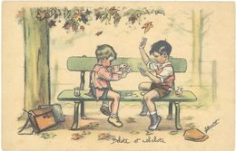 Cpa Germaine Bouret – Enfants, Belote Et Rebelote ( Cartes à Jouer )  ( ILL ) - Bouret, Germaine