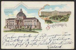 """""""Strassburg"""" Farb-Litho, Mit Kaiser Palast, 1900 Gelaufen - Elsass"""