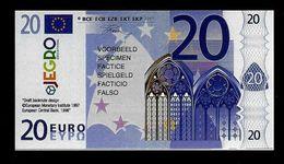 "Test Note ""JEGRO, Logo 6, Typ 3 Vertikal - Polymer"" Billet Scolaire, 20 EURO, Ca. 100 X 54 Mm, RRR, UNC - EURO"