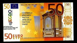 "Test Note ""JEGRO, Logo 6, Typ 3, Vertikal - Polymer"" Billet Scolaire, 50 EURO, Ca. 105 X 57 Mm, RRR, UNC - EURO"