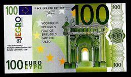 "Test Note ""JEGRO, Logo 6, Typ 3, Vertikal - Polymer"" Billet Scolaire, 100 EURO, Ca. 110 X 62 Mm, RRR, UNC - EURO"