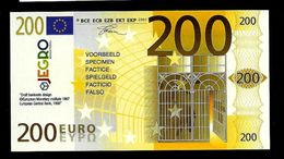"Test Note ""JEGRO, Logo 6, Typ 3, Vertikal - Polymer"" Billet Scolaire, 200 EURO, Ca. 115 X 62 Mm, RRR, UNC - EURO"