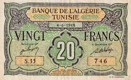 Billet De 20 Francs Type 1948 Ref Kolsky 408 Du 4 06 1948 - Tunisia