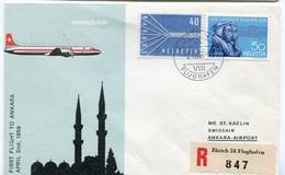 RC 6564 SUISSE SWITZERLAND 1959 1er VOL SWISSAIR ZURICH - ANKARA TURQUIE FFC LETTRE COVER - First Flight Covers