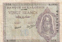 Billet De 20 Francs Type 1943 Ref Kolsky 407 Du 3 04 1945 - Tunisia