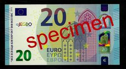 """Test Note """"JEGRO, Logo 6, Typ 2 Horizontal"""", Glossy Paper"""" Billet Scolaire, 20 EURO, Ca. 100 X 54 Mm, RRR, UNC - EURO"""