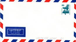 """Berlin Privat GZS-Umschlag PU 058 A2/001 WSt.50(Pf) Grünblau,""""LUFTPOST-Vordruck"""" Ungebraucht - Berlin (West)"""