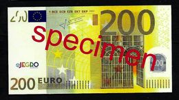 "Test Note ""JEGRO, Logo 6, Typ 2 Horizontal"""" Billet Scolaire, 200 EURO, Ca. 117 X 62 Mm, RRR, UNC - EURO"