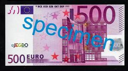 """Test Note """"JEGRO, Logo 6, Typ 2 Horizontal"""", Glossy Paper"""" Billet Scolaire, 500 EURO, Ca. 120 X 62 Mm, RRR, UNC - EURO"""