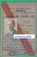 Carte D'invalidité - Ancien Combattants, Victime De Guerre, Office Tunisien, Mégrine Tunisie Né à Annot (Alpes-de-Haute) - Biglietti Di Trasporto