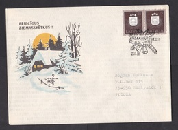 Latvia: Cover To Poland, 1991, 2 Stamps, Special Cancel Merry Christmas, Bells (traces Of Use) - Lettland