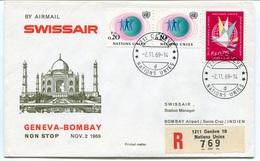 RC 6574 SUISSE SWITZERLAND 1969 1er VOL SWISSAIR GENEVE - BOMBAY INDE FFC LETTRE COVER - Aéreo