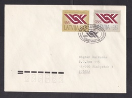 Latvia: Cover To Poland, 1992, 2 Stamps, Olympics, Olympic Games, First Day Cancel (traces Of Use) - Letland