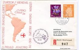 RC 6575 SUISSE SWITZERLAND 1962 1er VOL SWISSAIR ZURICH - RIO DE JANEIRO BRESIL FFC LETTRE COVER - First Flight Covers
