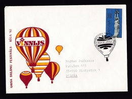 Latvia: Cover To Poland, 1992, 1 Stamp, Statue, Special Cancel Hot Air Balloon Festival (traces Of Use) - Letland