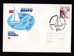 Latvia: Cover To Poland, 1992, 1 Stamp, Statue, Special Cancel Regatta Columbus, Sailing Ship Route Map (traces Of Use) - Letland