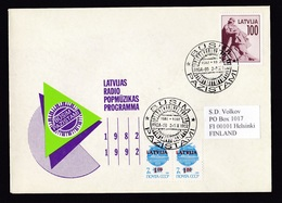 Latvia: Cover To Finland, 1992, 3 Stamps, Statue, Overprint USSR, Cancel Radio Programme Pop Music (traces Of Use) - Letland