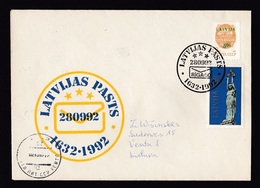 Latvia: Cover To Lithuania, 1992, 2 Stamps, Statue, USSR Overprint, Special Cancel Postal Jubilee (traces Of Use) - Letland