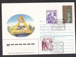 Latvia: Cover To Lithuania, 1992, 3 Stamps, Statue, Independence, Special Cancel (traces Of Use) - Letland