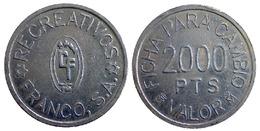 04174 GETTONE JETON TOKEN GAMING CASINO FICHA PARA CAMBIO 2000 PTS VALOR RECREATIVOS FRANCO, S.A. - Casino
