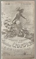 Bulletin Mensuel N°223 Du 25/11/1921 De La Maison Théodore Champion 13; Rue Drouot à Paris - Catalogues De Maisons De Vente