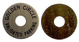 04392 GETTONE JETON TOKEN PARCHEGGIO PARKING PARKMUNZE GOLDEN CIRCLE VALIDATED PARKING - USA